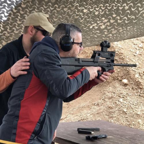 P90 Machine Gun Shooting